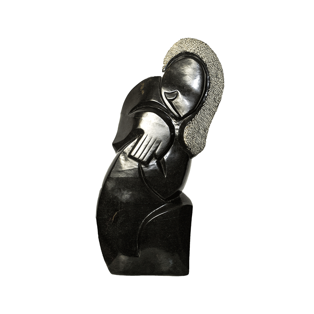 One of a kind African Fine Art: Hand Carved Stone Sculpture 'Prayer' by Zimbabwean Artist Joseph Chigangaidze Made in 1990