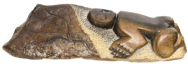 One of a kind African Fine Art: Hand Carved Stone Sculpture 'Sleeping Child' by Zimbabwean Artist Ngoni Chandigwa Made in 1990