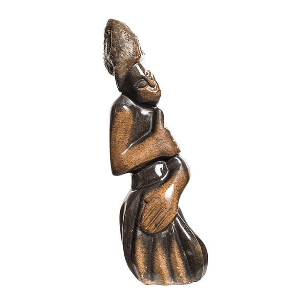 One of a kind African Fine Art: Hand Carved Stone Sculpture 'Fresh Woman' by Zimbabwean Artist John Type Made in 1990