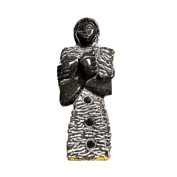 One of a kind African Fine Art: Hand Carved Stone Sculpture 'Protective Woman' by Zimbabwean Artist B.T. Manyandure Made in 1990