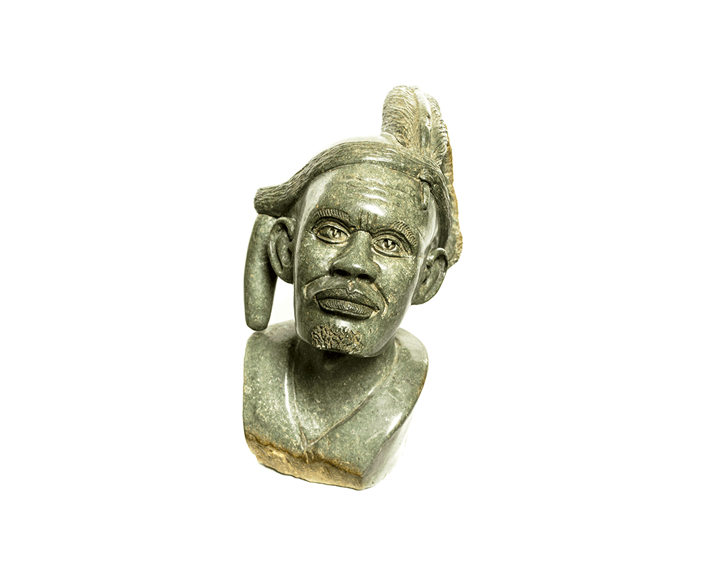 One of a kind African Fine Art: Hand Carved Stone Sculpture 'The Chief' by Zimbabwean Artist Joseph Tozo Made in 1990