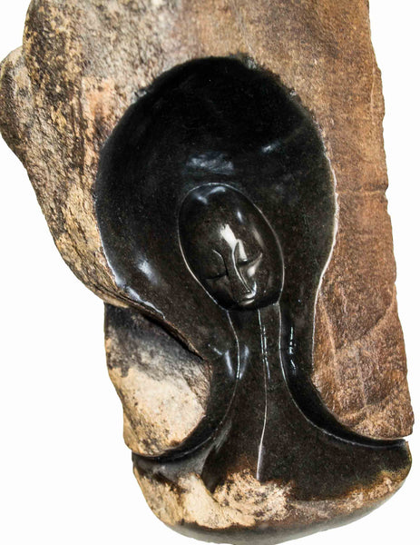 Close up: Hand Carved Stone Sculpture 'Hidden' by Zimbabwean Artist NVM Made in 1990
