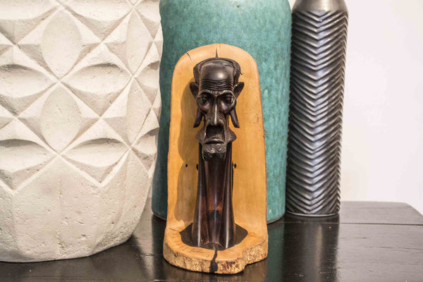 Masaai Ebony Wood Carving 'Masaai Man' Made in Kenya in 1988