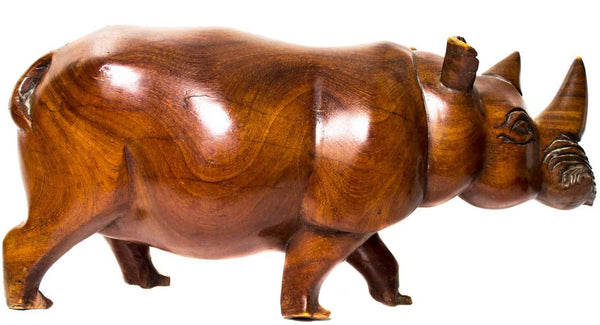 Full view: Authentic Hand Carved Wooden 'Rhino' Sculpture from Malawi Made in 1988