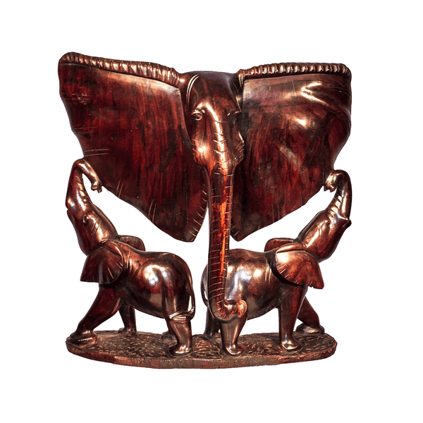 One of a kind African fine art: Authentic Hand Carved Wooden 'Mother and Children' Sculpture from Kenya Made in 1988