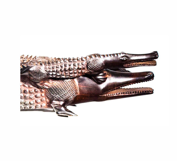 Close up view: Authentic Hand Carved Wooden 'Crocodile' Sculpture from Kenya Made in 1988