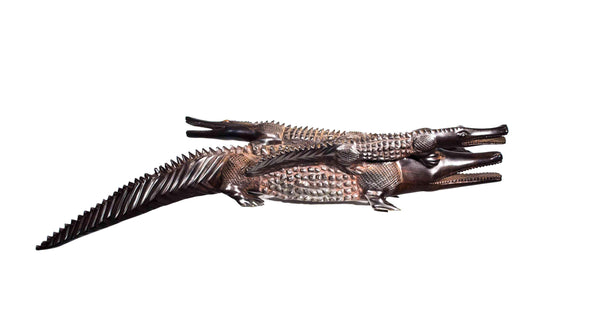 Full view: Authentic Hand Carved Wooden 'Crocodile' Sculpture from Kenya Made in 1988