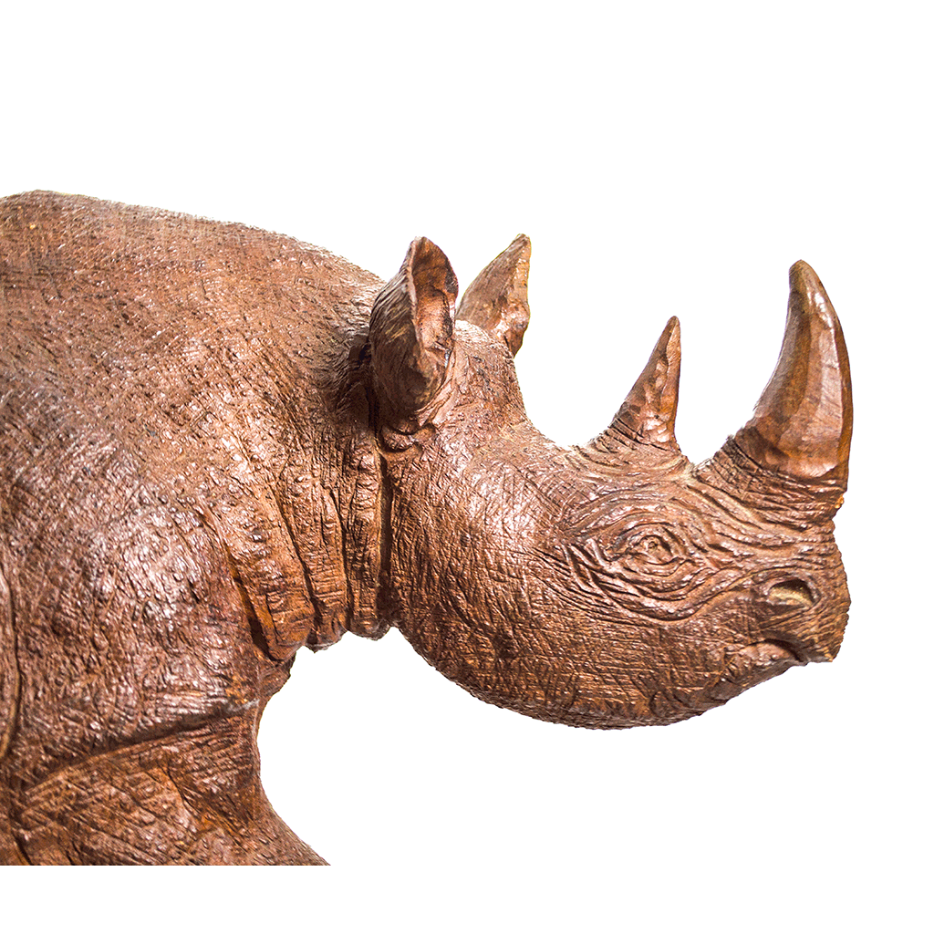 One of a kind African fine art: Authentic Hand Carved Wooden 'Rhino' Sculpture from Kenya Made in 1988