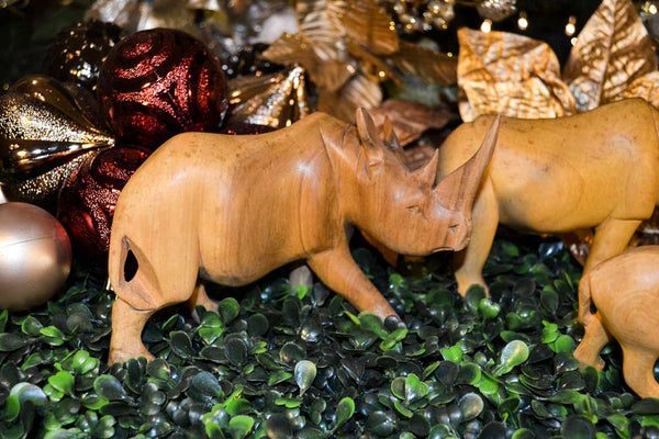 Profile view: Size medium: Authentic Vintage Hand Carved Teak Wood 'Rhino' Figurine from Kenya