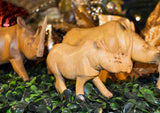 Close up: Authentic Vintage Hand Carved Teak Wood 'Rhino' Figurine from Kenya
