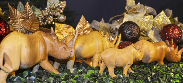 All sizes displayed together (xsmall, small, medium, large): Authentic Vintage Hand Carved Teak Wood 'Rhino' Figurine from Kenya