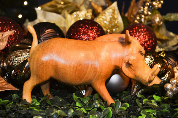 Vintage One of a Kind Hand Carved Teak Wood Wild Hog Figurine