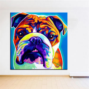 English bulldog Large size Print Oil Painting  Wall painting Home Decorative Wall Art Picture For Living Room painting No Frame