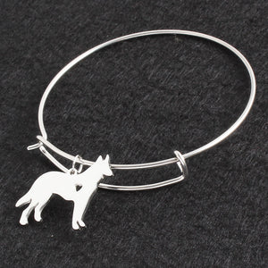 No Fade Silver German Shepherd  Bracelet