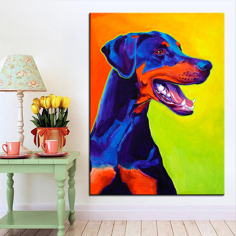 Large size Print Oil Painting Doberman  Wall painting No Frame