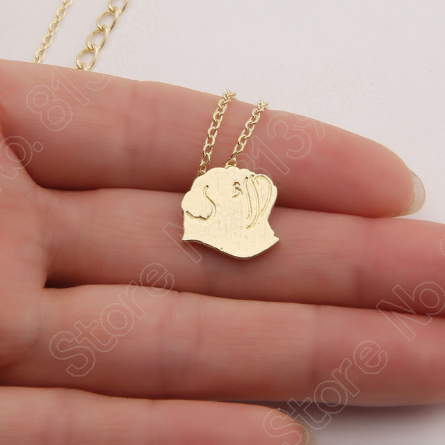 Pug silhouette Necklace dog Necklaces & Pendants Cute Gold Choker Necklace Women Pendant Necklace Animal Charms Carlin Lead Free