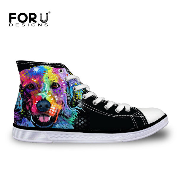 Women High Top Canvas Shoes by breed Pug
