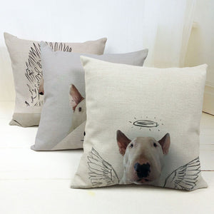 Decorative Pillows Case Linen Cotton Bull Terrier Cushion Cover