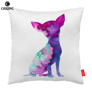 Chihuahua Watercolor Abstract Art Pillow  Cover