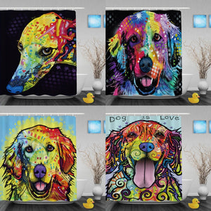 Golden Retriever Shower Curtains  With Hooks