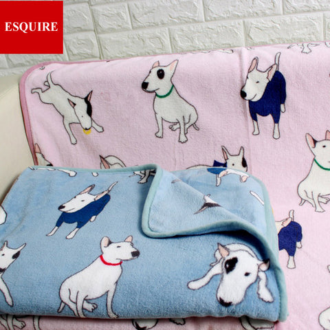 very soft quality fleece bull terrier pattern blanket two size