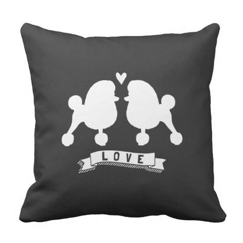 Soft Toy Poodles Love Dog Silhouettes W Heart Pillow Case (Size: 45x45cm) Free Shipping