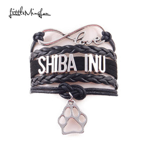 Shiba inu bracelet dog pet paw charm leather wrap