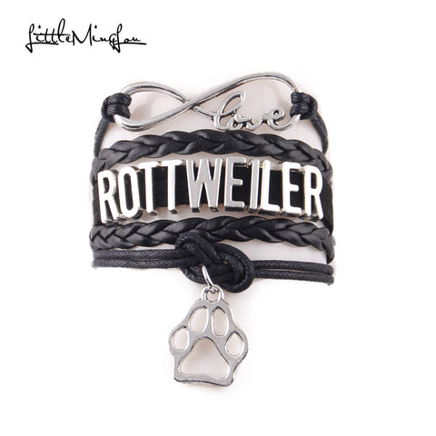 ROTTWEILER bracelet dog paw charm leather wrap