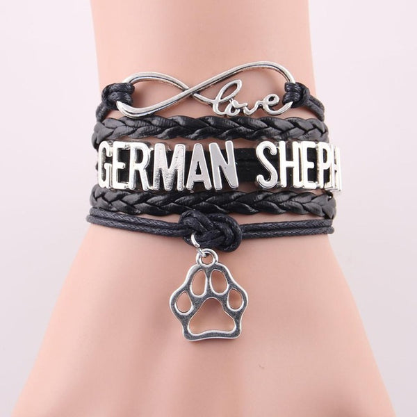 GERMAN SHEPHERD bracelet dog pet paw charm leather wrap