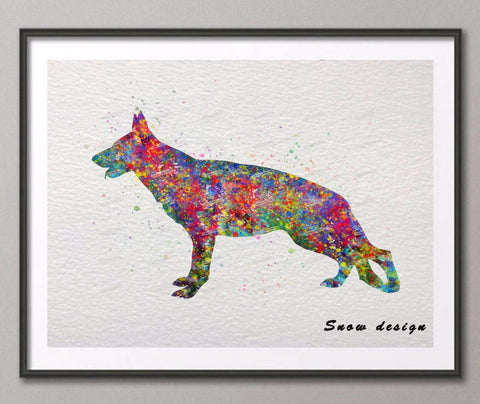 German Shepherd watercolor canvas painting