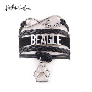 BEAGLE bracelet dog pet paw charm leather wrap