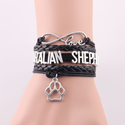 AUSTRALIAN SHEPHERD bracelet dog paw charm leather wrap bracelets & bangles for women jewelry