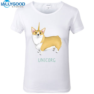 Welsh  Corgi Pembroke Unicorg Funny T-Shirts for Women