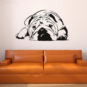 Free shipping latest lovely English bulldog vinyl wall stickers green animal decal stickers home decor mural art F-61
