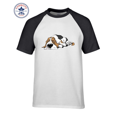 Funny Basset Hound cartoon dog Cotton t shirt for men