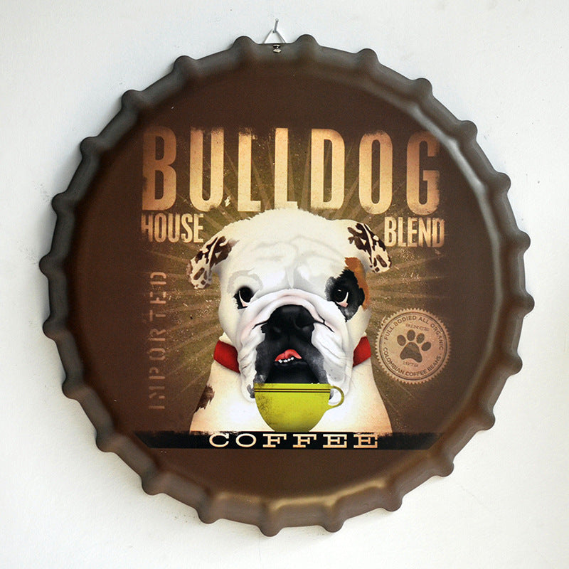 Bulldog 35 cm Vintage Home Decor Round Bottle Cap Tin Signs