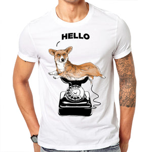 T- shirt  Hello Corgi Design for Men