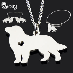 Bernese Mountain Jewelry Set For Women Stainless Steel Dog Necklace Bracelet Earrings Charm