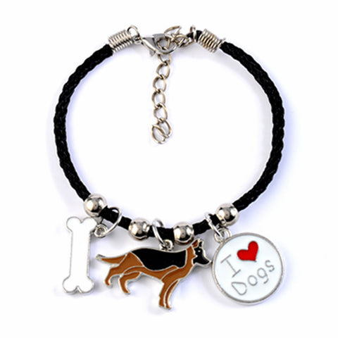 German Shepherd charm bracelets  rope chain silver color alloy pendant