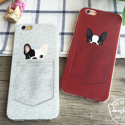 For iPhone 6Plus 6 6S 5 5S SE 5C 4 4S Samsung Galaxy  Cute French bulldog Pocket Cartoon Animals Soft Phone Case