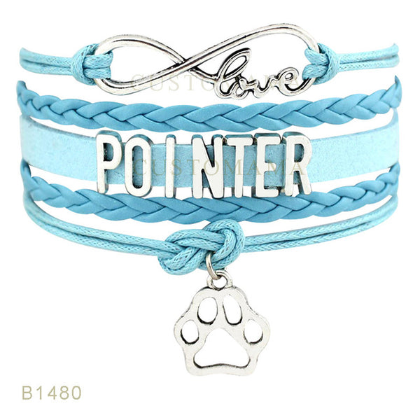 Love Pointer Dog Paw Charm Bracelets For Women