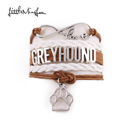 4 colors  Greyhound Bracelet dog paw Charm leather wrap
