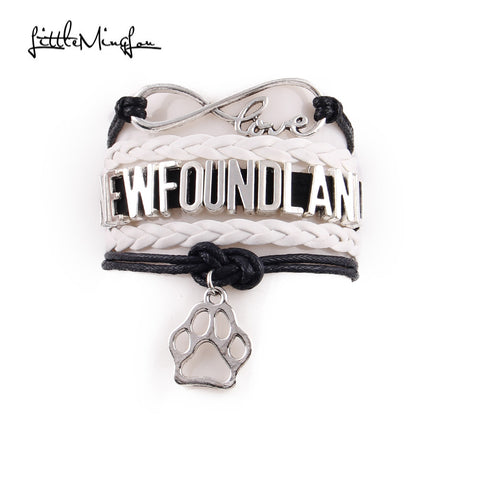 Newfoundland  Bracelet paw Charm leather wrap