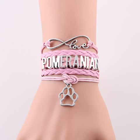 POMERANIAN Bracelet dog paw Charm leather wrap