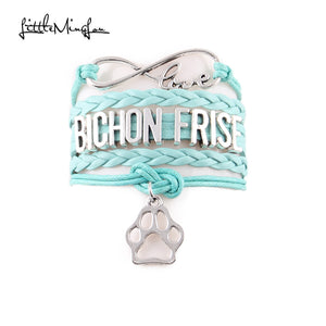 Bichon Frise Bracelet pet dog paw Charm leather wrap