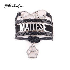 Maltese Bracelet pet dog paw Charm leather wrap