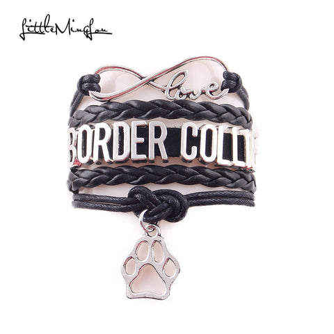 border collie bracelet dog pet paw charm leather wrap