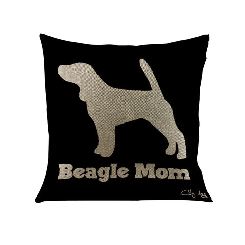 Black and gray Beagle mom dog letter pattern Decorative Cushion cover