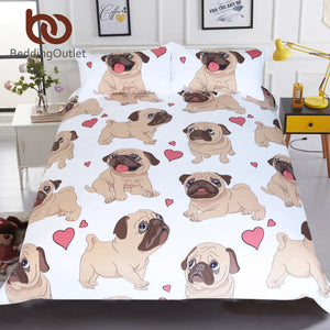 Pug Bedding Set Queen Size