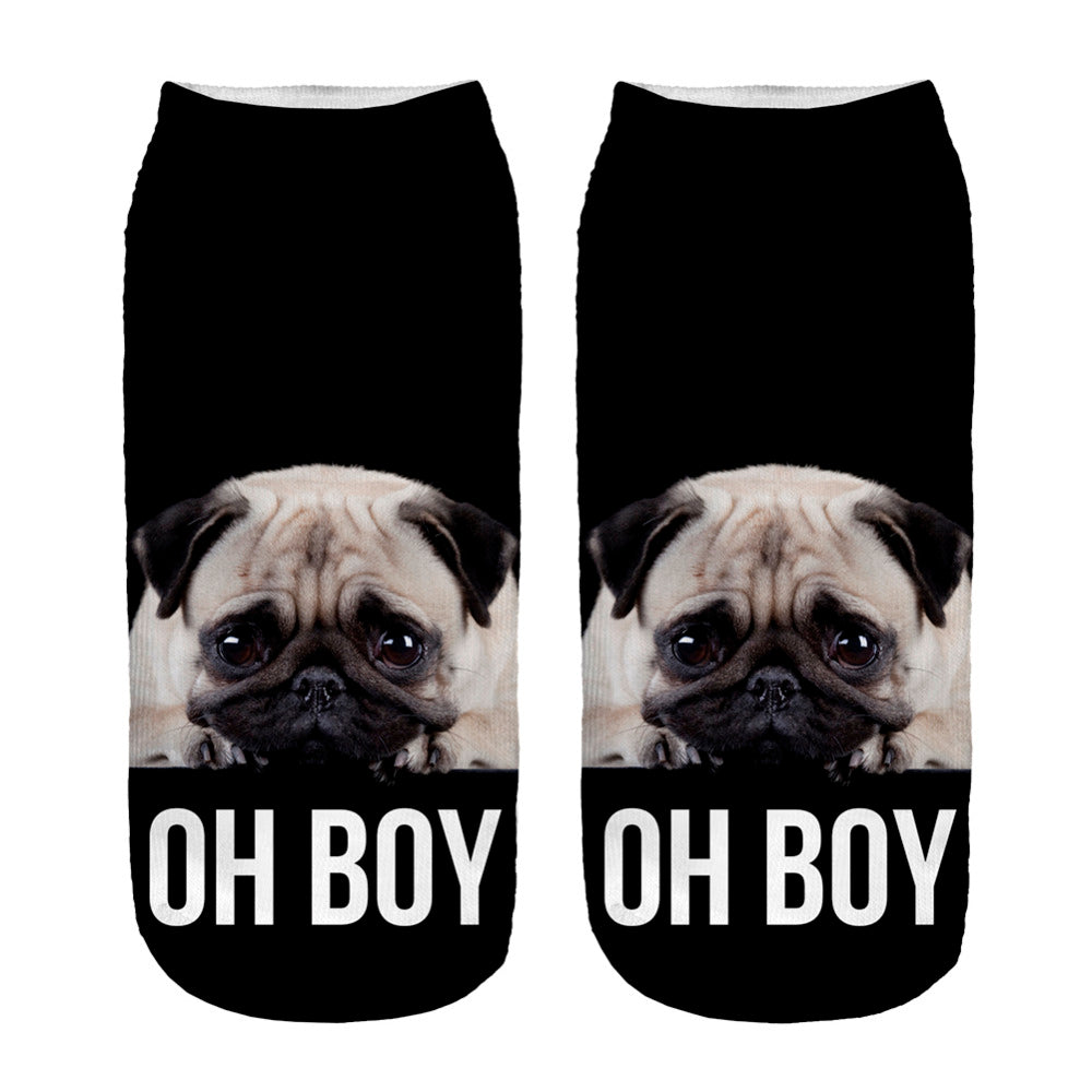 Pug  Low Ankle Socks